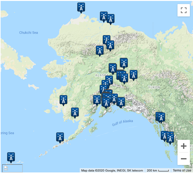 A map of Alaska indicating where NOAA weather stations are located.