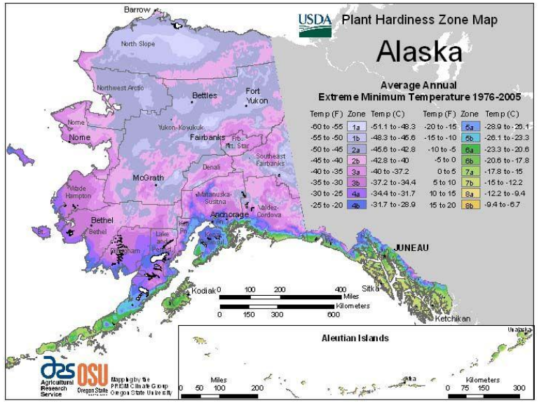 A map of Alaska indicating USDA Plant Hardiness Zones by color variation. Much of Northern and central Alaska consists of growing zones 1a to 2b, with coastal regions 2b to 4a and Southeast Alaska contains zones ranging from 4a to 7b.