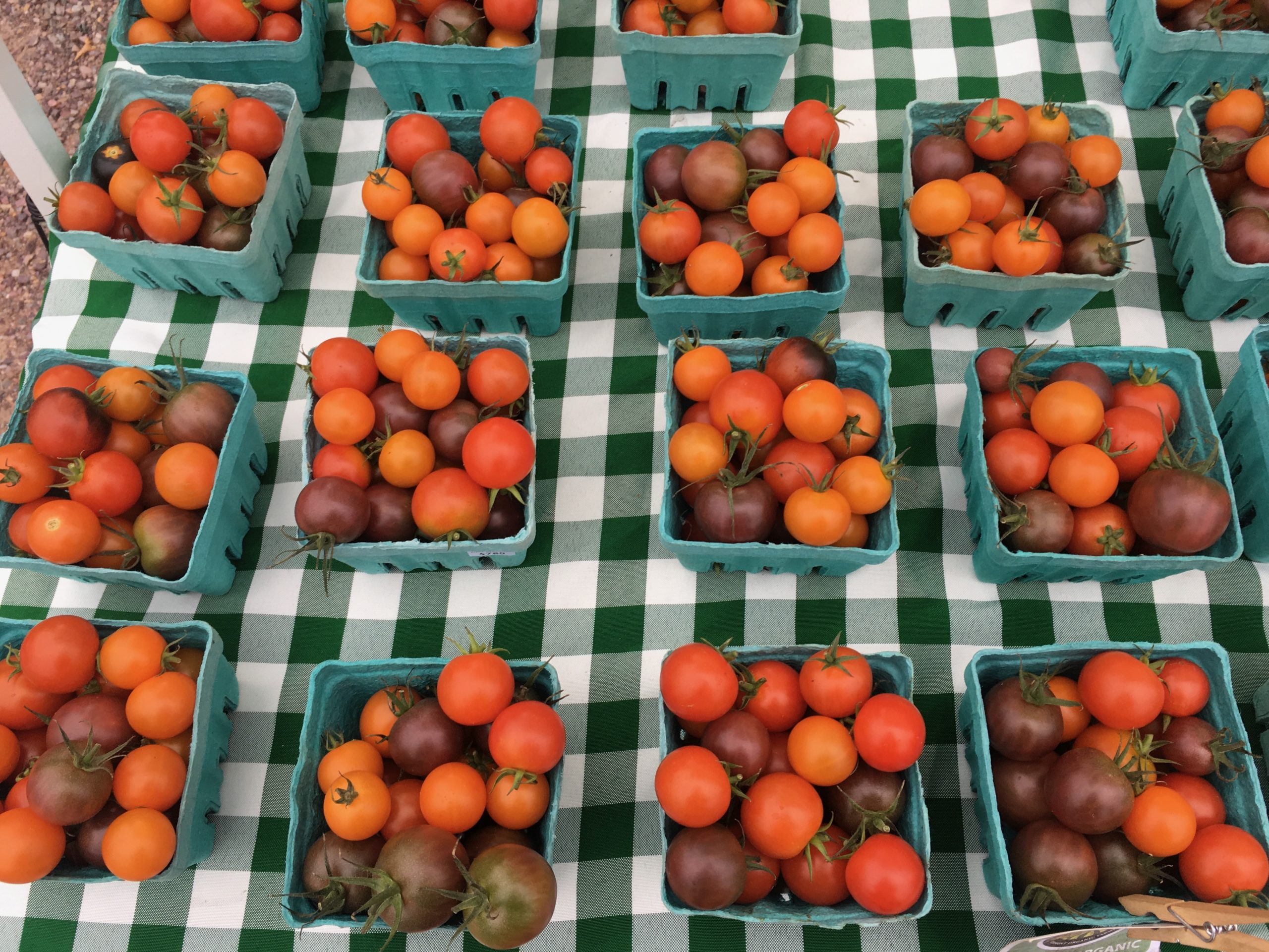 tomatoes of various colors in baskets