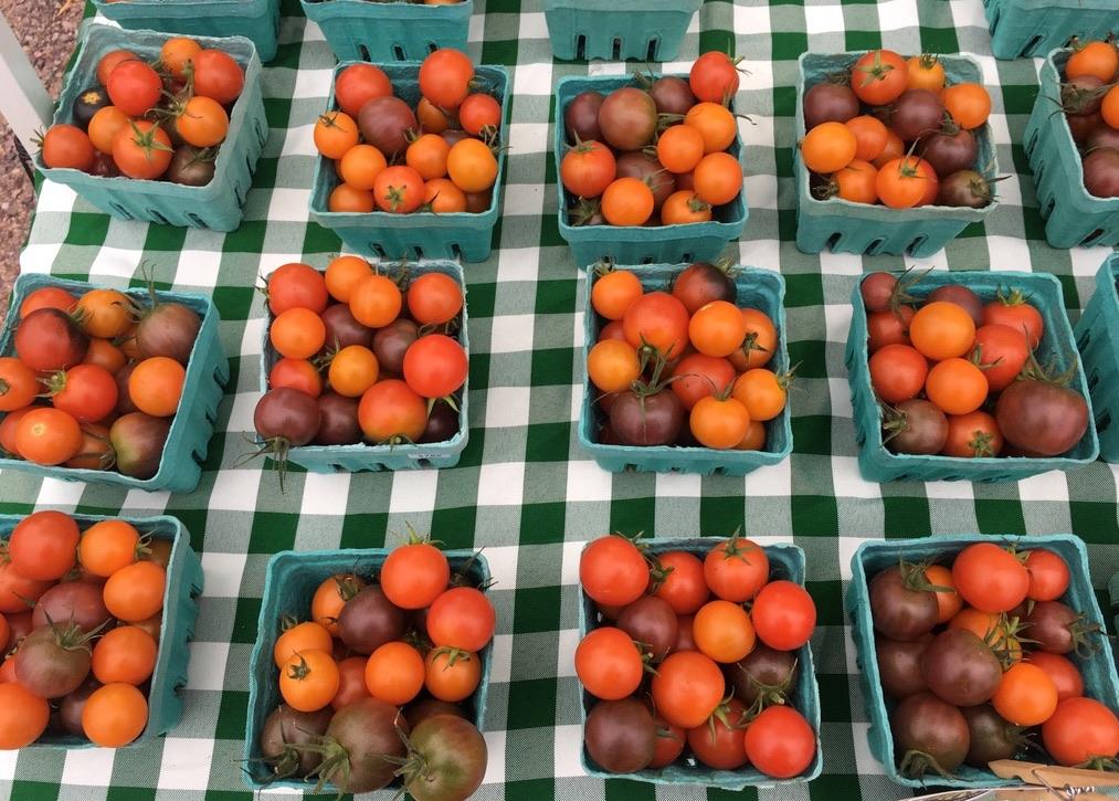 baby tomatoes orange and dark red